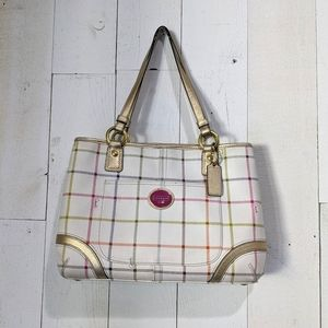 Coach Heritage Tattersall Plaid Multi Shoppers Bag